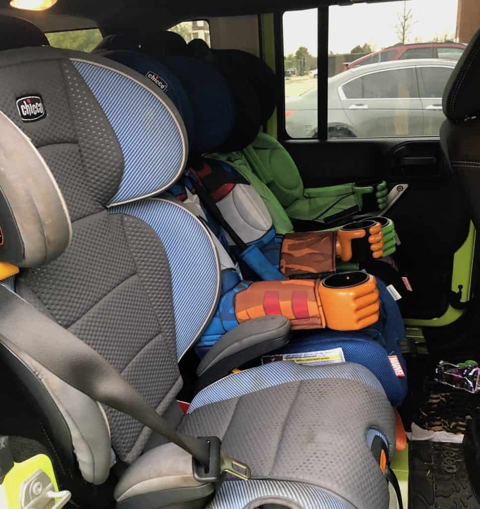 3 across car seats in a Jeep