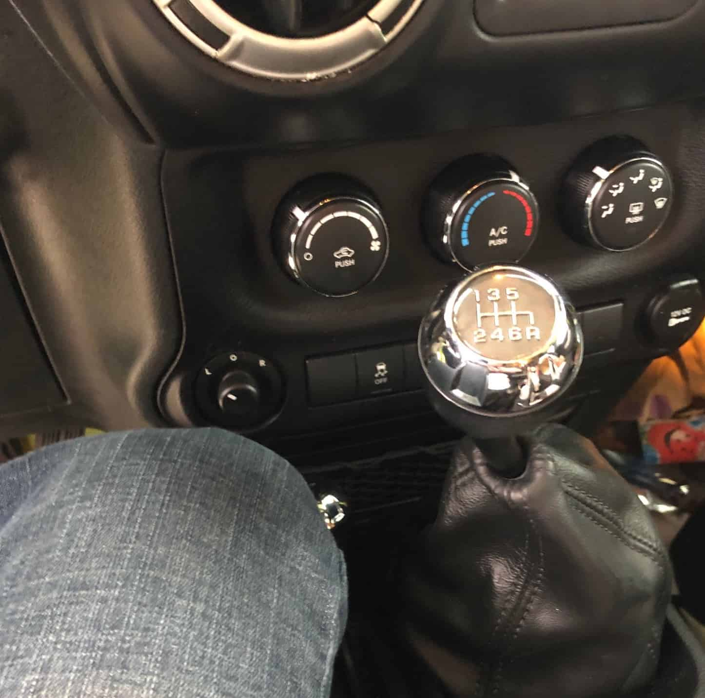 Manual shifter in a Jeep.