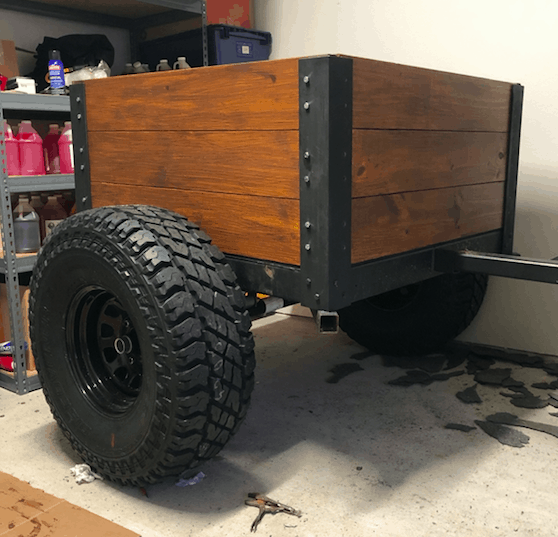DIY overland trailer with a wood box.