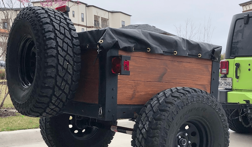 Tire carrier on offroad trailer.