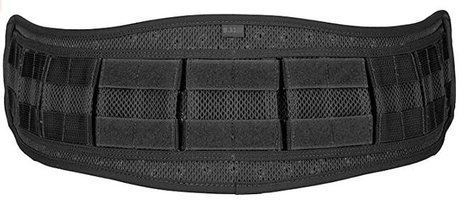 A tactical belt in black.