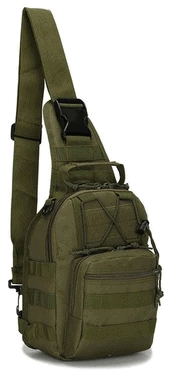 Tactical sling pack in olive green